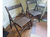 2 Solid Wood Grain Folding Chairs