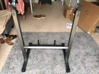 Adjustable squat rack and bench press