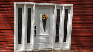 STEEL ENTRY DOOR WITH 4 BEVELLED SIDE LIGHTS - MUST GO