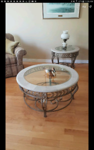 A large  glass and marble top coffee table and 2 end tables