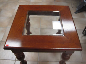 Glass and Wood top End Table