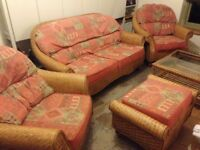 Real Rattan Furniture Set .Double Settee.Two Single Seater Chairs .Foot Stool .Glass Top Table