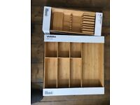 IKEA VARIERA wooden cutlery and knife trays - new and boxed. Unused.