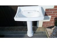 Vintage White Sink Basin on Pedestal (wall brackets available)