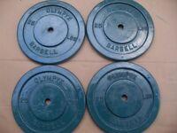 4 x 25 lbs (11kg) cast iron weight = 100lbs (44kg)