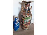 Moriage Satsuma floor vase