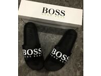 Brand New With Box Men's Black Sliders Size 8.11 Only £20