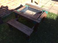Kids garden table with sand pit and free toys