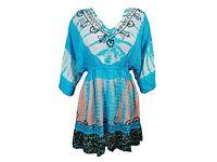 Boho Mini Dress Tie Dye Embroidered Flare Hem Beach Sundress