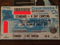 Selling my 4-day (thurs-sunday) standard camping Creamfields Ticket (24thAug2017)