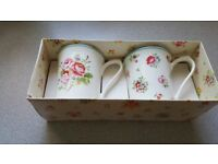 Set of 2 cath kidston floral mugs in box discontinued range unused