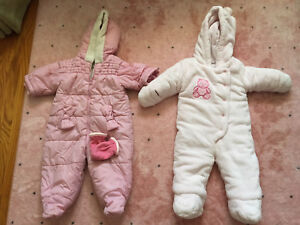 2 baby girl's snow suits (6-12m)
