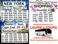 Bus Tour to New York , Boston-Cape Cod-Nantucket , Shopping Trip