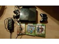 X Box 360 with Kinect and 3 games