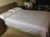 Double divan bed with mattress, headboard and storage drawer