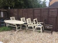 Wooden Garden Furniture Table and chairs x 6