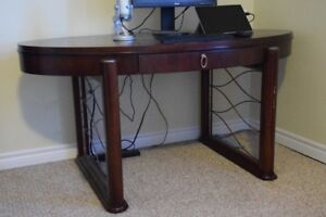 Solid wood oval desk with drawer