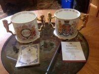 LIMITED EDITION PAIR OF ROYAL ALBERT BONE CHINA ROYAL LOVING CUPS