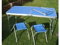 Folding Camping Picnic Table with Three Stools Chairs Height Adjusts, Ashford Middlesex