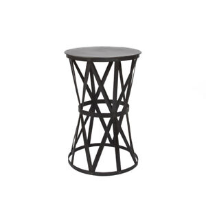 Two Black Metal Side Tables