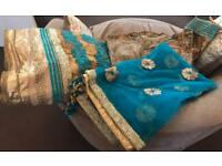 Beautiful Gold and Turquoise Size 10 Indian Suit £135