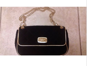 Michael Kors 1981 Black & Gold with Chain Handbag Purse Built In