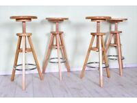 DELIVERY OPTIONS - 4 X WOODEN STOOLS BREAKFAST BAR ADJUSTABLE STURDY