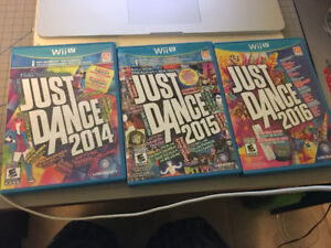 Just Dance 2014, 2015, and 2016 for Wii U