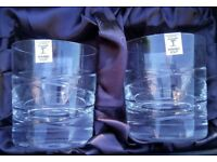Pair of Rockingham Crystal Simplicity Whisky Glasses new in presentation box