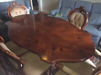 Italian reproduction dining table and chairs