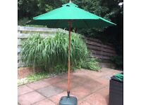 Garden Sun Parasol 2m Green and Hardwood with Stand