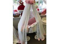 Beautiful new baby girls large crib with hand made custom bedding
