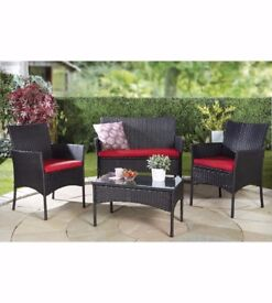Brand New Lisbon 4-Piece Rattan-Effect Set Black with Red Cushions 2 Chairs Bench Coffee Table