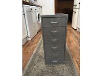 Vintage grey metal filing cabinet