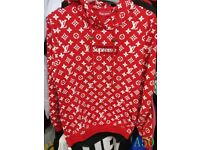 Louis Vuitton X Supreme Hoodie Red Black Brown