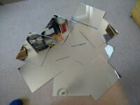 (gone pending collection) 12 panels of acrylic mirror 32cm x 27cm - some scratched (3mm thick)