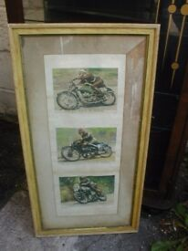 3 famous vintage motorcycle racer pictures in frame 72 cm x 38 cm