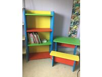 Set of 2 handmade wooden kids desk and bookcase
