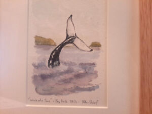 """Peter Sobol """"Whale of a Time"""" framed Watercolour"""