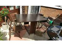 Walnut Butterfly table & 4 chairs