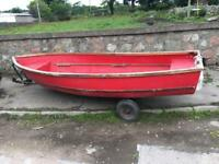13ft fibre glass boat with trailer