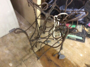 ANTIQUE ICE CREAM PARLOUR SET, table, 2 chairs, WIRE,WOOD,RARE