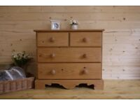 Farmhouse rustic solid waxed pine 2 over 2 chest of drawers