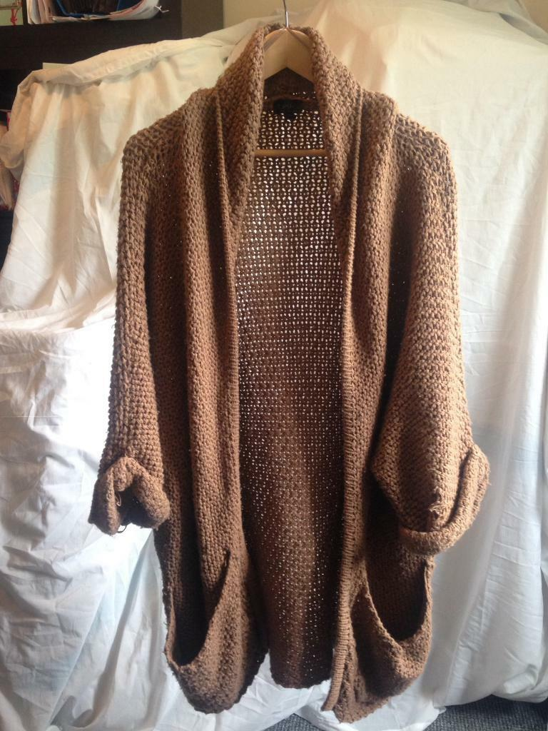 Slouchy thick brown cardigan women's size 12 by Topshop | in ...