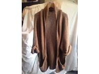 Slouchy thick brown cardigan women's size 12 by Topshop