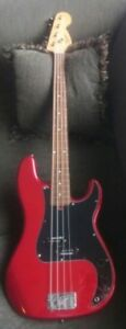 Used Squier (By Fender) Affinity P-Bass Guitar Candy Apple Red