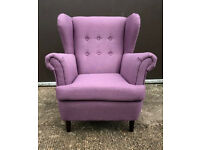 Brand New Martha Fabric Wingback Chair - Lilac