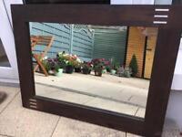 Brown wooden heavy wooden mirror