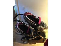 Double travel system, 2 car seats, 2 pods raincovers for both 2 changing bags & footmuffs