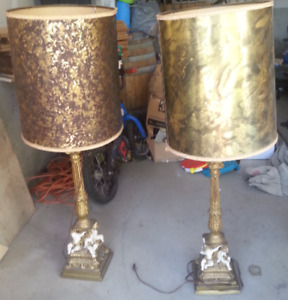 2 older style lamp stands around 3 feet tall